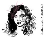 hand drawn fashion model  | Shutterstock .eps vector #170901476