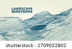 abstract wireframe landscape...   Shutterstock .eps vector #1709022802