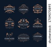 retro vintage design emblems... | Shutterstock .eps vector #1709070895