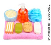 soap on towel isolated on white ... | Shutterstock . vector #170909012