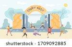 people enjoy open air sport...   Shutterstock .eps vector #1709092885