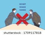 do not shake hands   vector... | Shutterstock .eps vector #1709117818