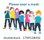 social distancing  child group...   Shutterstock .eps vector #1709128432