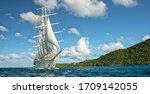Sailing Ship At Sea Under Sail...