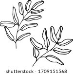 cute set of hand drawn leaves... | Shutterstock .eps vector #1709151568