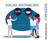 social distancing  child group...   Shutterstock .eps vector #1709153332