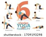 infographic of 6 kneeling yoga... | Shutterstock .eps vector #1709193298