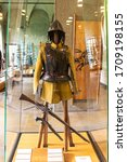 Small photo of Milan, Italy, 29 September, 2015 : The armament and defense for light cavalry in a glass case - exhibit at the museum of the Sforzesco Castle - Castello Sforzesco in Milan, Italy