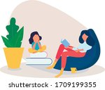 mother reads a book to her... | Shutterstock .eps vector #1709199355