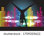 dancing people silhouettes.... | Shutterstock .eps vector #1709205622