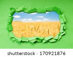 wheat field  through hole in... | Shutterstock . vector #170921876