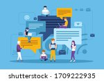 chatting people use a mobile...   Shutterstock .eps vector #1709222935