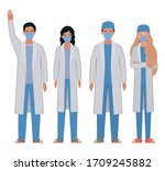 men and women doctors with... | Shutterstock .eps vector #1709245882