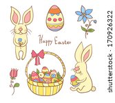 easter vector set with eggs