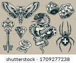 vintage tattoos set with... | Shutterstock . vector #1709277238