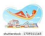read book summer beach concept. ... | Shutterstock .eps vector #1709311165