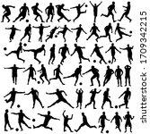 black silhouette male soccer... | Shutterstock .eps vector #1709342215