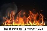 vector bonfire flame on a dark... | Shutterstock .eps vector #1709344825