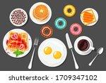 breakfast.  coffee  scrambled... | Shutterstock .eps vector #1709347102