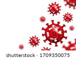 covid 19 . 3d floating corona... | Shutterstock .eps vector #1709350075