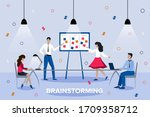team thinking and brainstorming....   Shutterstock .eps vector #1709358712