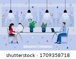 team thinking and brainstorming....   Shutterstock .eps vector #1709358718
