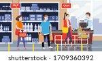 supermarket store counter... | Shutterstock .eps vector #1709360392
