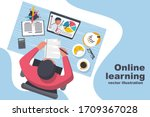 e learning concept. boy is... | Shutterstock .eps vector #1709367028