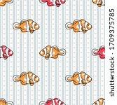 Cute Cartoon Two Clownfish...