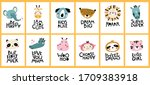big tropical collection. cute... | Shutterstock .eps vector #1709383918