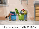 couple homeless searching in... | Shutterstock .eps vector #1709410345