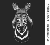 zebra portrait. head of wild... | Shutterstock .eps vector #1709415832