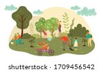 people work at autumn garden... | Shutterstock .eps vector #1709456542