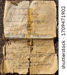 Small photo of Old sugar cookie recipe, tattered and taped together