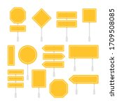 yellow road signs set. street... | Shutterstock .eps vector #1709508085