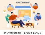 concept of telecommuting and... | Shutterstock .eps vector #1709511478