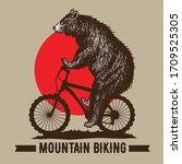 bear mountain biking...   Shutterstock .eps vector #1709525305
