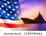 Small photo of American warship. America's Navy. Ship on the background of the American flag. Naval forces of the United States. us Navy. Ship against the background of the sunset and the American flag.