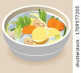 clear soup with eggs tofu... | Shutterstock .eps vector #1709577205