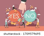 human hand between yes and no... | Shutterstock .eps vector #1709579695