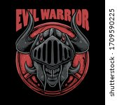 skull wearing knight helmet... | Shutterstock .eps vector #1709590225