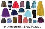woman skirt vector cartoon set... | Shutterstock .eps vector #1709602072