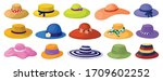 summer hats isolated cartoon... | Shutterstock .eps vector #1709602252