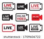 live stream icon set. video... | Shutterstock .eps vector #1709606722