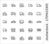 car line icons set. stroke...