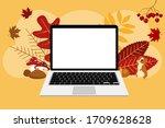 laptop empty screen with autumn ... | Shutterstock .eps vector #1709628628