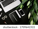 feminine modern workspace with... | Shutterstock . vector #1709641522