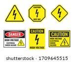 high voltage sign set  danger... | Shutterstock .eps vector #1709645515
