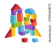 pyramid built from children's... | Shutterstock .eps vector #1709654875