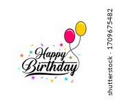 happy birthday lettering vector ...   Shutterstock .eps vector #1709675482